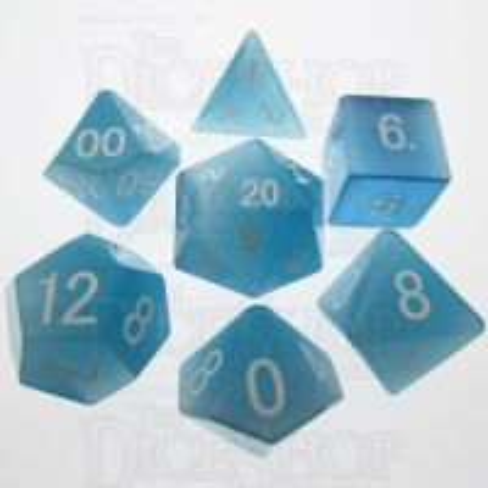 TDSO Cats Eye Mint Blue 16mm Precious Gem 7 Dice Polyset