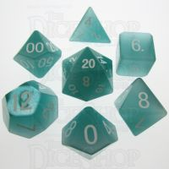 TDSO Cats Eye Mint Green 16mm Precious Gem 7 Dice Polyset