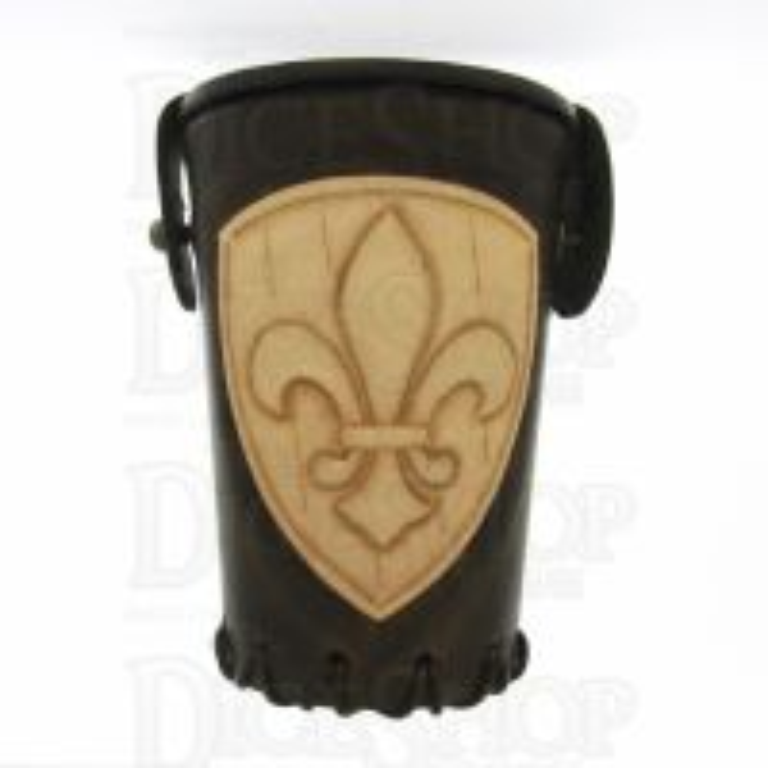 QD Fleur De Lis Brown Leather Dice Cup