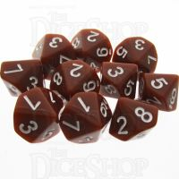 TDSO Opaque Brown 10 x D10 Dice Set