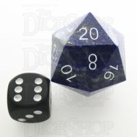 TDSO Lapis Lazuli with Engraved White Numbers JUMBO 30mm Precious D20 Dice