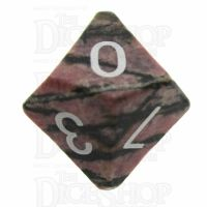 TDSO Rhodonite Black Lined 16mm Precious Gem D10 Dice