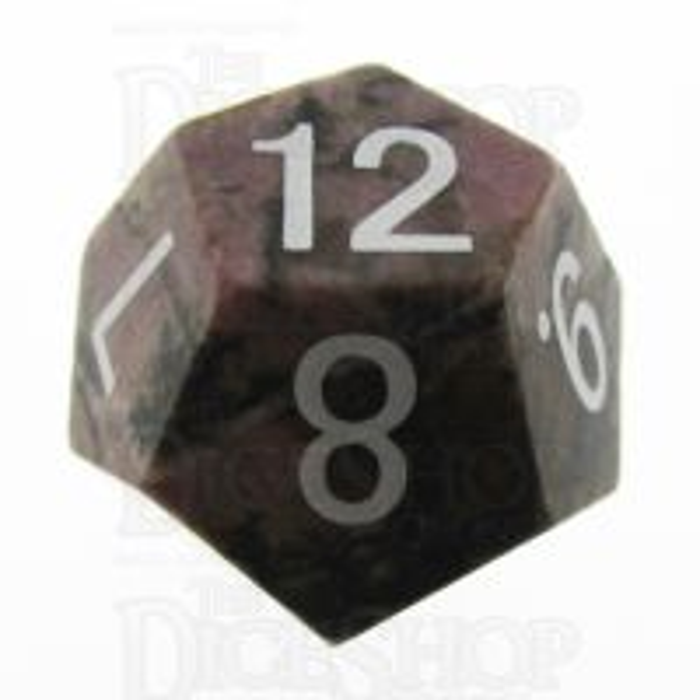TDSO Rhodonite Black Lined 16mm Precious Gem D12 Dice