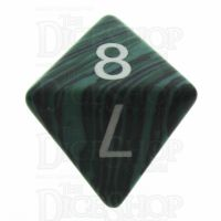 TDSO Turquoise Malachite Synthetic 16mm Precious Gem D8 Dice