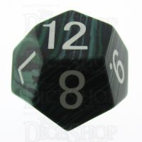 TDSO Turquoise Malachite Synthetic 16mm Precious Gem D12 Dice