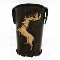 QD Stag Brown Leather Dice Cup