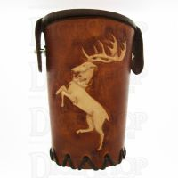 QD Stag Tan Leather Dice Cup