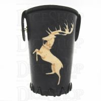 QD Stag Black Leather Dice Cup
