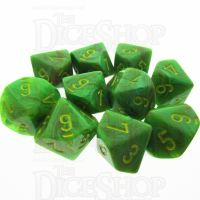 Chessex Vortex Slime 10 x D10 Dice Set
