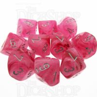 Chessex Ghostly Glow Pink 10 x D10 Dice Set