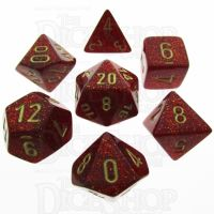 Chessex Glitter Ruby 7 Dice Polyset