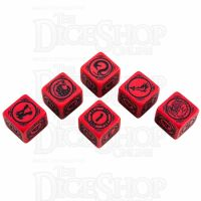 Q Workshop Battletech House Kurita Red & Black 6 x D6 Dice Set