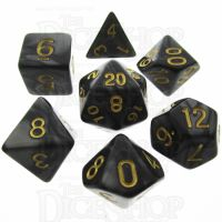 TDSO Pearl Black & Gold 7 Dice Polyset