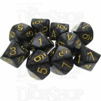 TDSO Pearl Black & Gold 10 x D10 Dice Set