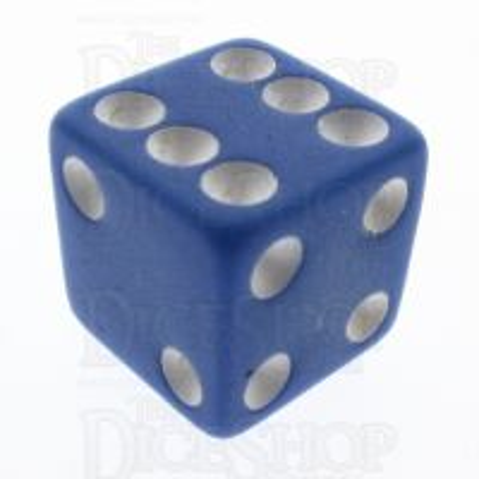 Koplow Opaque Pastel Blue & White Square Cornered 16mm D6 Spot Dice