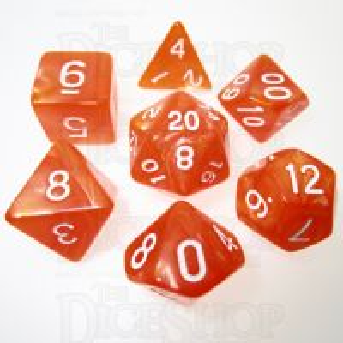 TDSO Pearl Orange & White 7 Dice Polyset