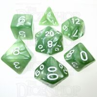 TDSO Pearl Pale Green & White 7 Dice Polyset