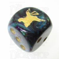 Chessex Lustrous Shadow Badger with Guns Logo D6 Spot Dice