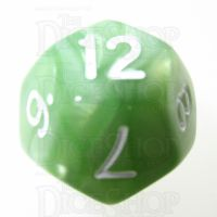 TDSO Pearl Pale Green & White D12 Dice