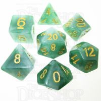 TDSO Jade Green & Gold 7 Dice Polyset