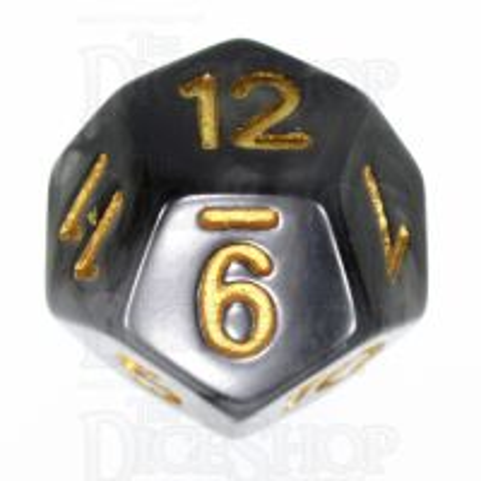 TDSO Jade Black & Gold D12 Dice