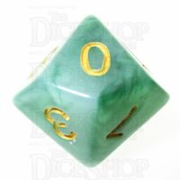 TDSO Jade Green & Gold D10 Dice