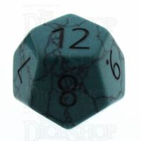 TDSO Turquoise Green Synthetic with Engraved Numbers 16mm Precious Gem D12 Dice
