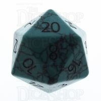 TDSO Turquoise Green Synthetic with Engraved Numbers 16mm Precious Gem D20 Dice