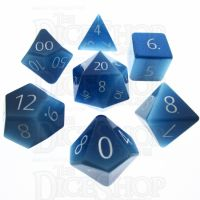 TDSO Cats Eye Aquamarine with Engraved Numbers 16mm Precious Gem 7 Dice Polyset