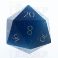 TDSO Cats Eye Aquamarine with Engraved Numbers 16mm Precious Gem D20 Dice
