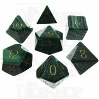 TDSO Malachite Green Synthetic Turquoise with Engraved Numbers 16mm Precious Gem 7 Dice Polyset