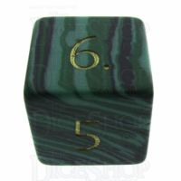 TDSO Malachite Green Synthetic Turquoise with Engraved Numbers 16mm Precious Gem D6 Dice