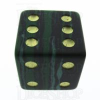 TDSO Malachite Green Synthetic Turquoise with Engraved Spots 16mm Precious Gem D6 Dice