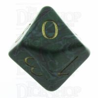 TDSO Malachite Green Synthetic Turquoise with Engraved Numbers 16mm Precious Gem D10 Dice