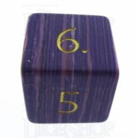 TDSO Turquoise Purple Wave Synthetic with Engraved Numbers 16mm Precious Gem D6 Dice