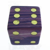 TDSO Turquoise Purple Wave Synthetic with Engraved Spots 16mm Precious Gem D6 Dice