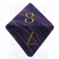 TDSO Turquoise Purple Wave Synthetic with Engraved Numbers 16mm Precious Gem D8 Dice