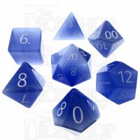 TDSO Cats Eye Light Blue with Engraved Numbers 16mm Precious Gem 7 Dice Polyset