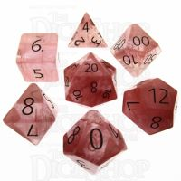 TDSO Quartz Strawberry with Engraved Numbers 16mm Precious Gem 7 Dice Polyset