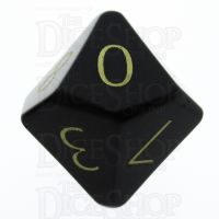 TDSO Obsidian Black with Engraved Numbers 16mm Precious Gem D10 Dice