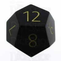 TDSO Obsidian Black with Engraved Numbers 16mm Precious Gem D12 Dice