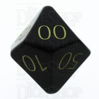 TDSO Obsidian Black with Engraved Numbers 16mm Precious Gem Percentile Dice