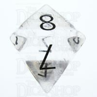 TDSO Quartz Clear with Engraved Numbers 16mm Precious Gem D8 Dice