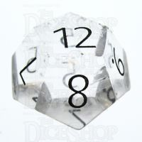 TDSO Quartz Clear with Engraved Numbers 16mm Precious Gem D12 Dice