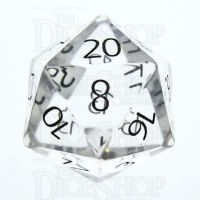TDSO Quartz Clear with Engraved Numbers 16mm Precious Gem D20 Dice