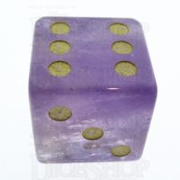 TDSO Amethyst with Engraved Spots 16mm Precious Gem D6 Dice