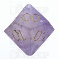 TDSO Amethyst with Engraved Numbers 16mm Precious Gem Percentile Dice