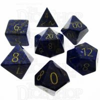 TDSO Lapis Lazuli with Engraved Numbers 16mm Precious Gem 7 Dice Polyset