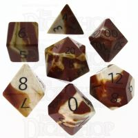 TDSO Mookaite with Engraved Numbers 16mm Precious Gem 7 Dice Polyset