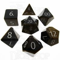 TDSO Tiger Eye Gold with Engraved Numbers 16mm Precious Gem 7 Dice Polyset